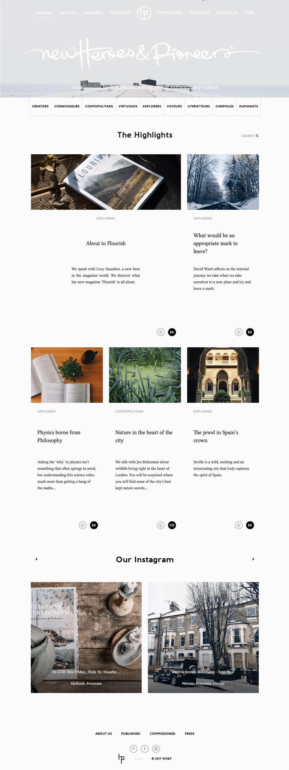 New Heroes & Pioneers Website Design Homepage