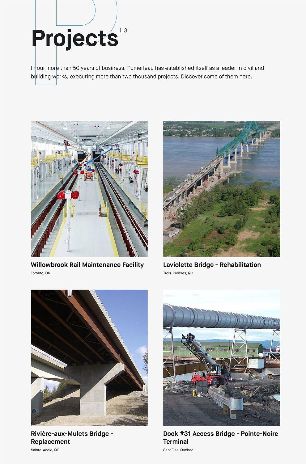 Pomerleau Organized Website Projects Page