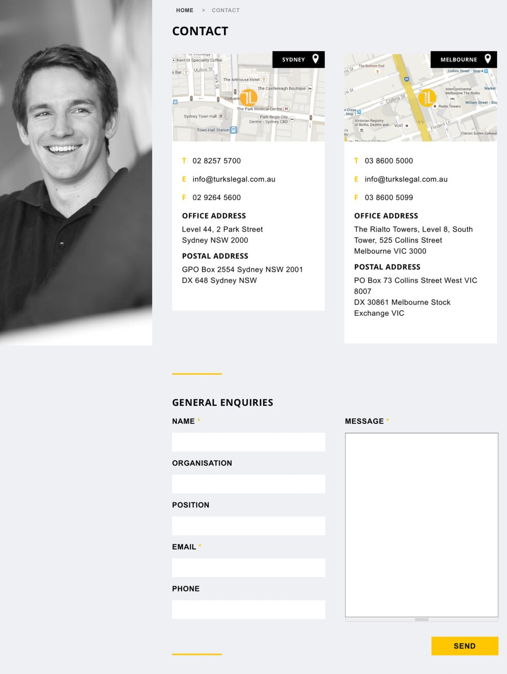 Turks Legal Elegant Contact Page