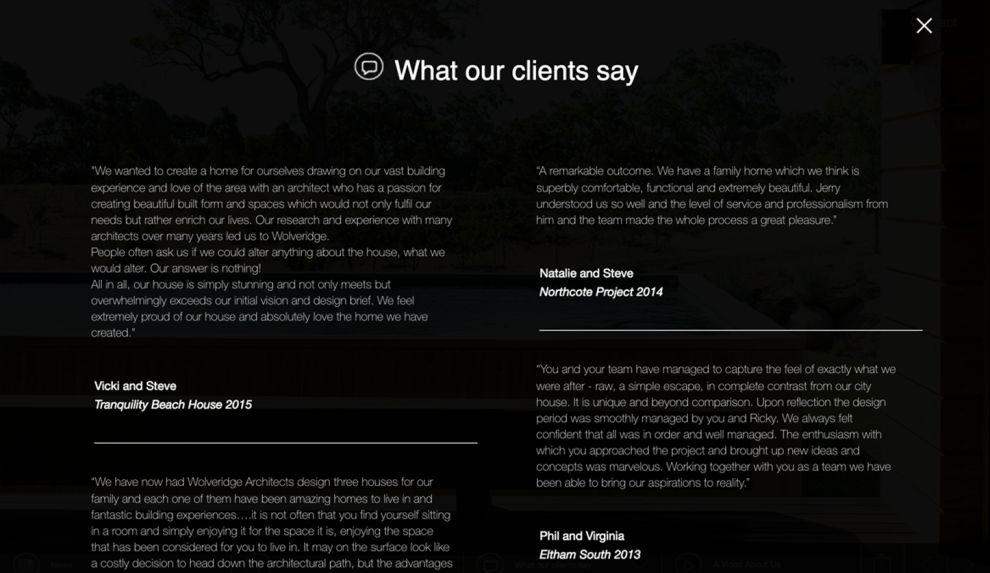 Wolveridge Architects Clean Testimonials Page