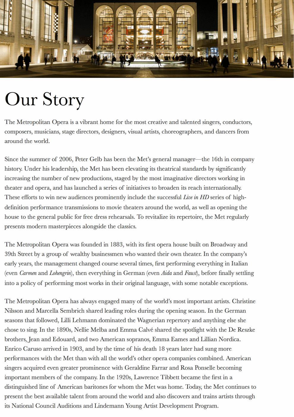 Metropolitan Opera Clean About Page
