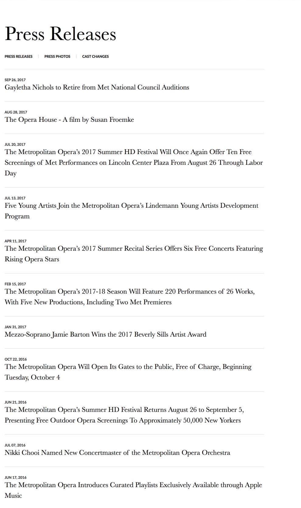 Metropolitan Opera Clean Press Page
