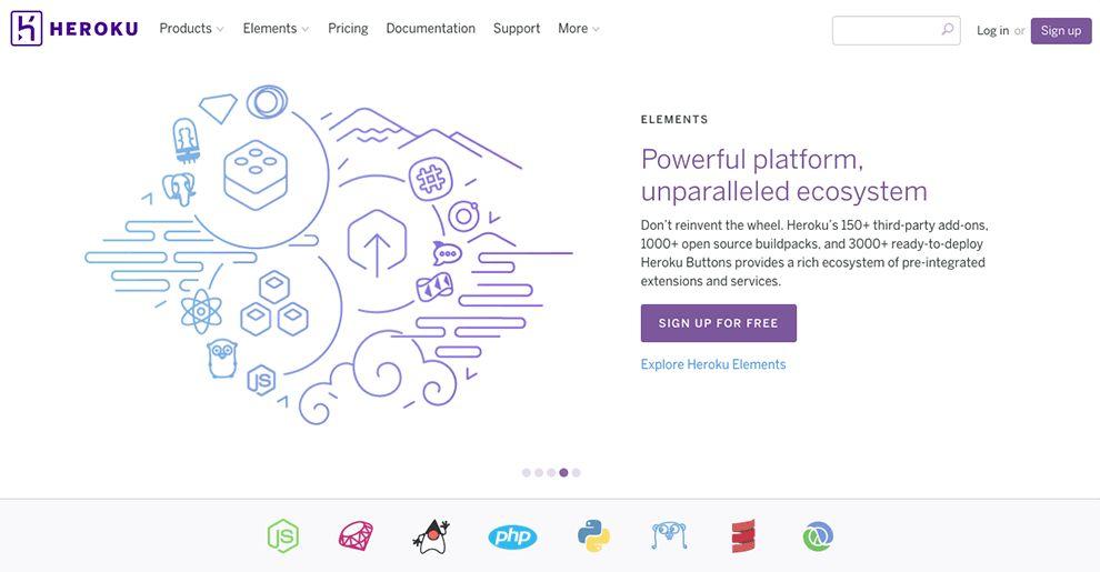 Heroku Minimal Website Design Homepage