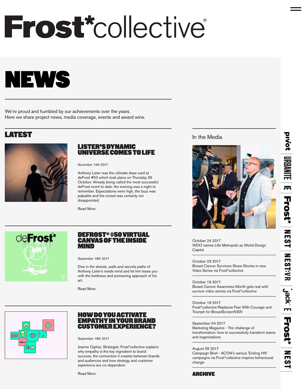Frost Collective Great News Page