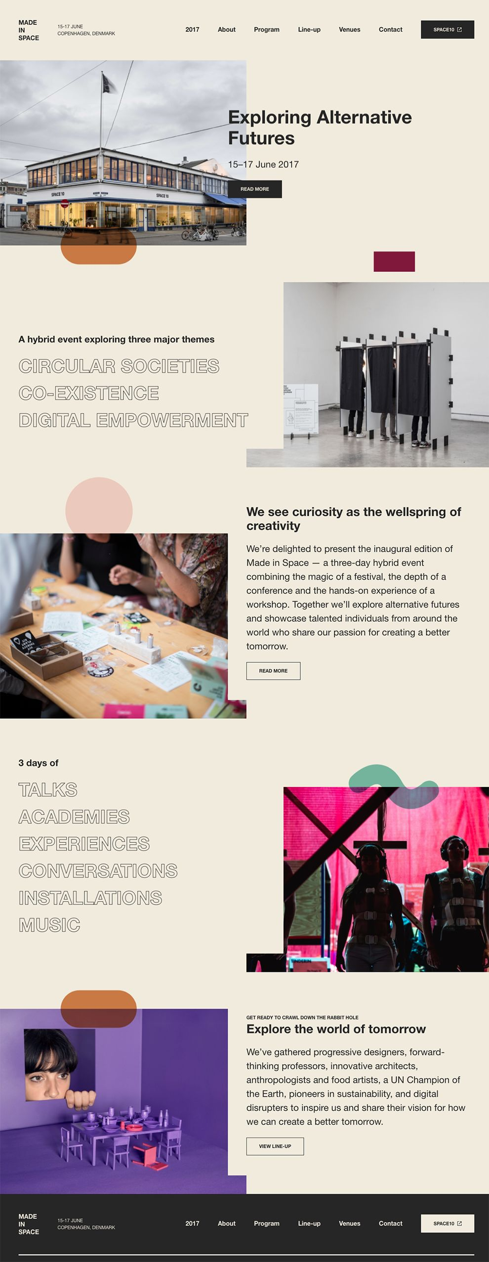 Made In Space Colorful Website Design