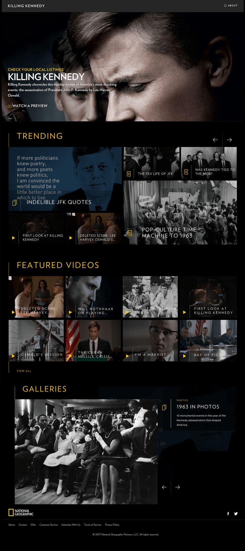Killing Kennedy Top Website Design
