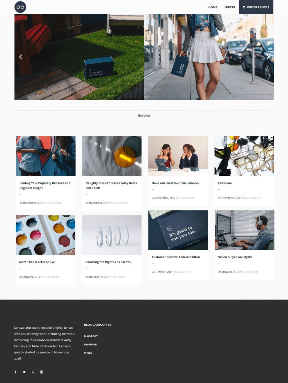 Lensabl Clean Blog Site