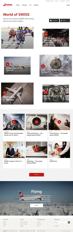 Swiss International Airlines Clean Homepage