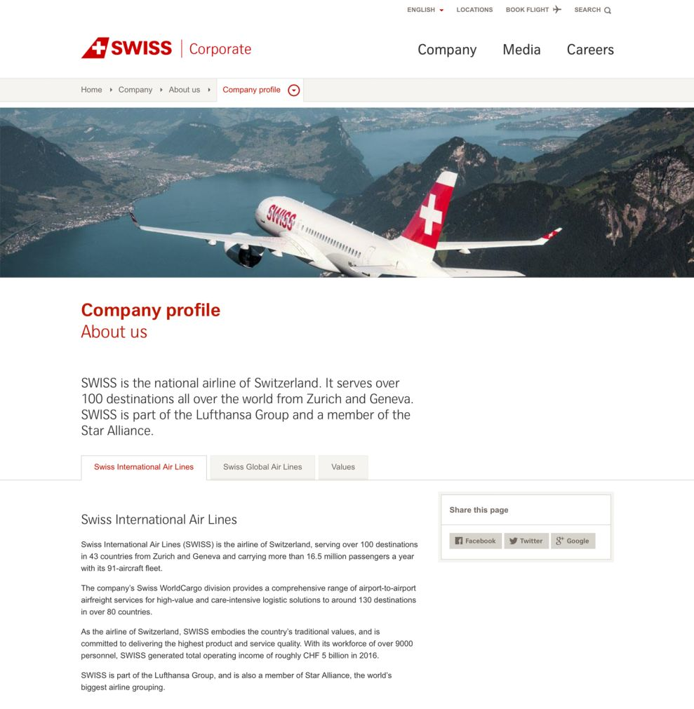 Swiss International Airlines Clean About Page