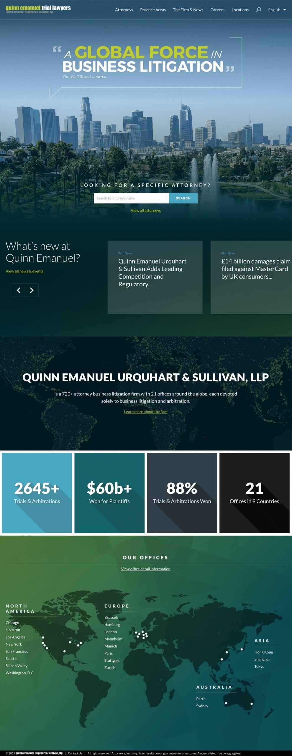 Quinn Emanuel Trial Lawyers Corporate Homepage