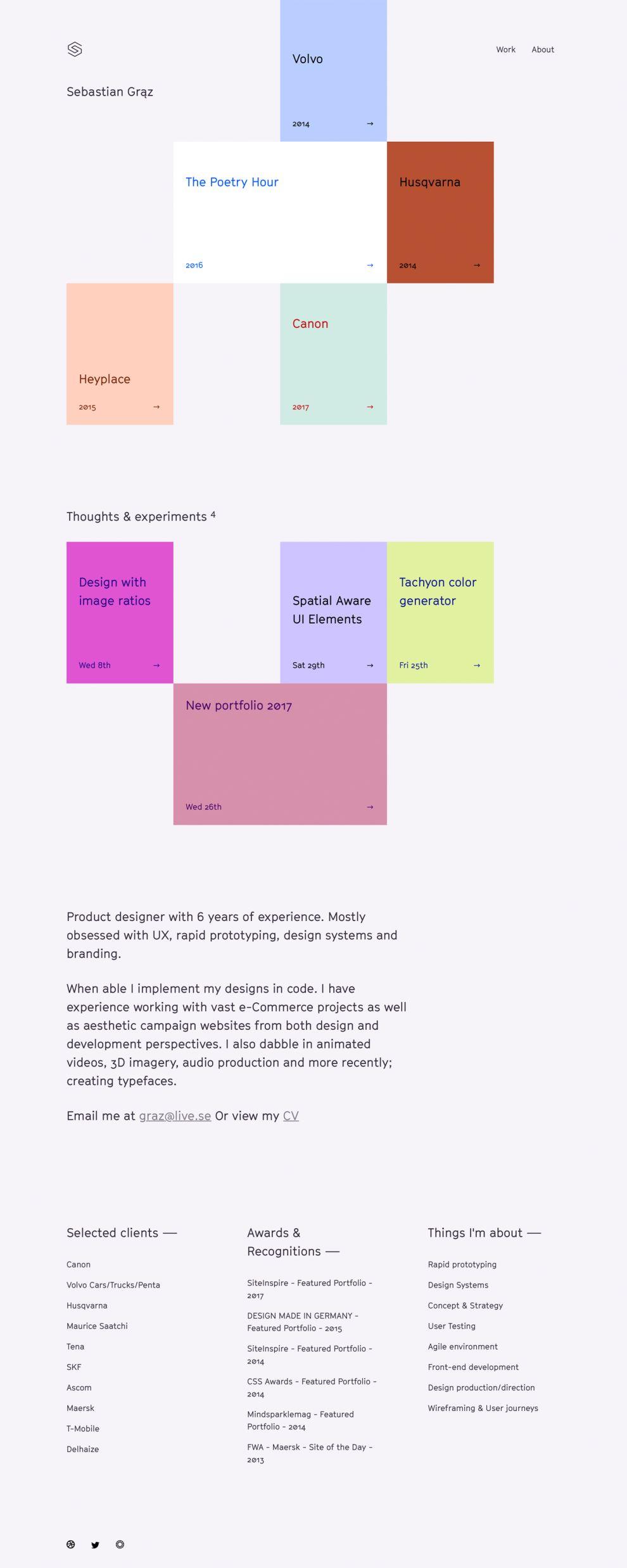Sebastian Graz Colorful Homepage