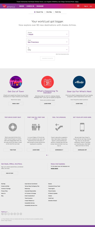 Virgin America Clean Homepage