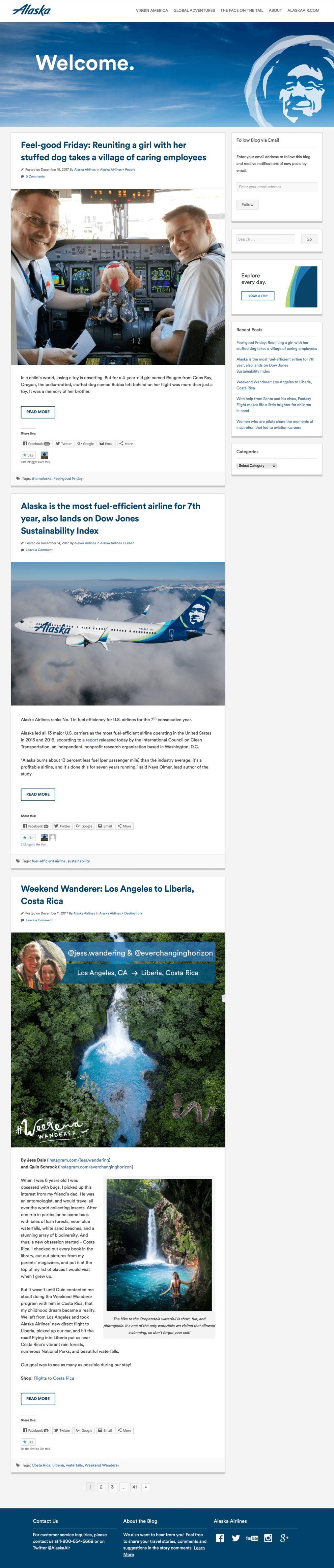 Virgin America Clean Blog Page