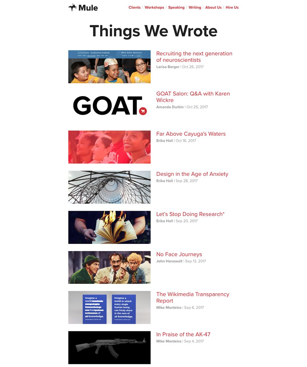 Mule Design Clean Blog Page