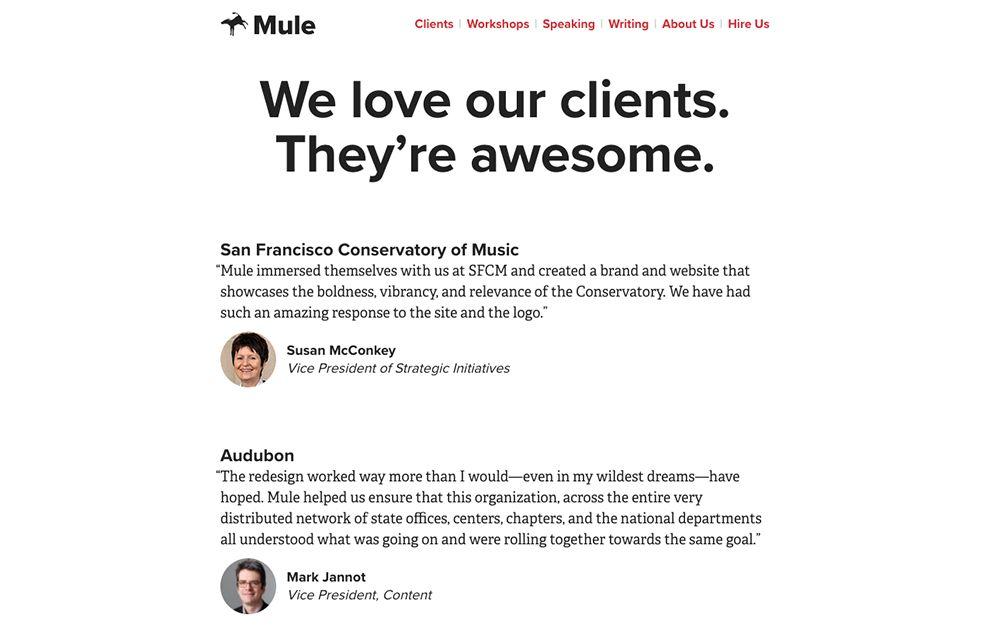 Mule Design Clean Testimonials Page