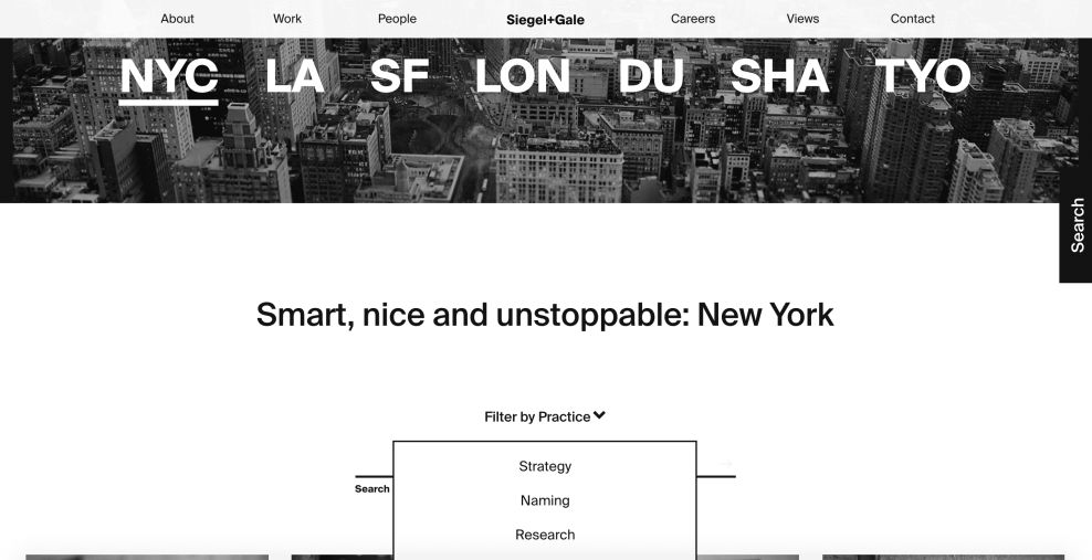 Siegal + Gale Contact Website Design