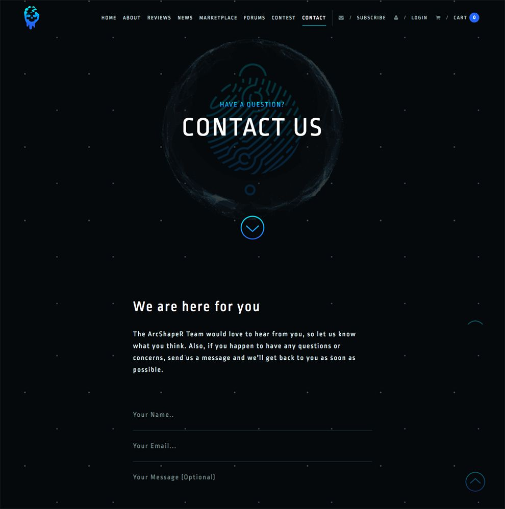 ArcShaper Beautiful Contact Page