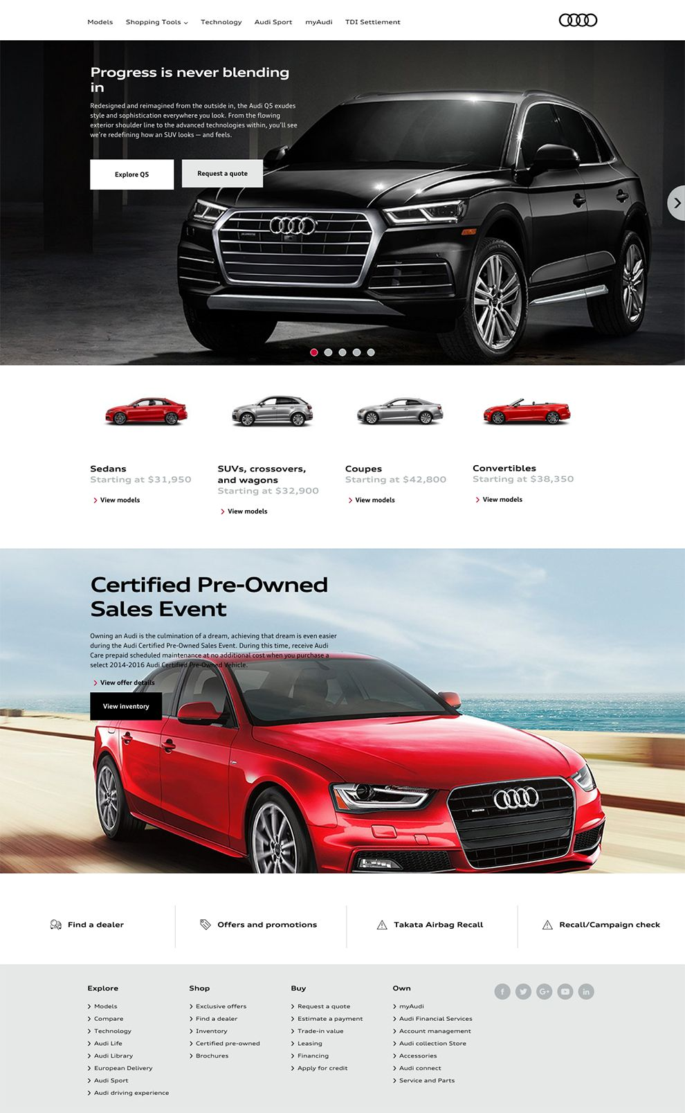 Audi Professional Homepage Design