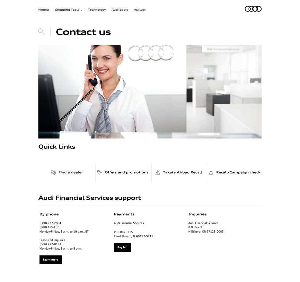 Audi Professional Contact Page