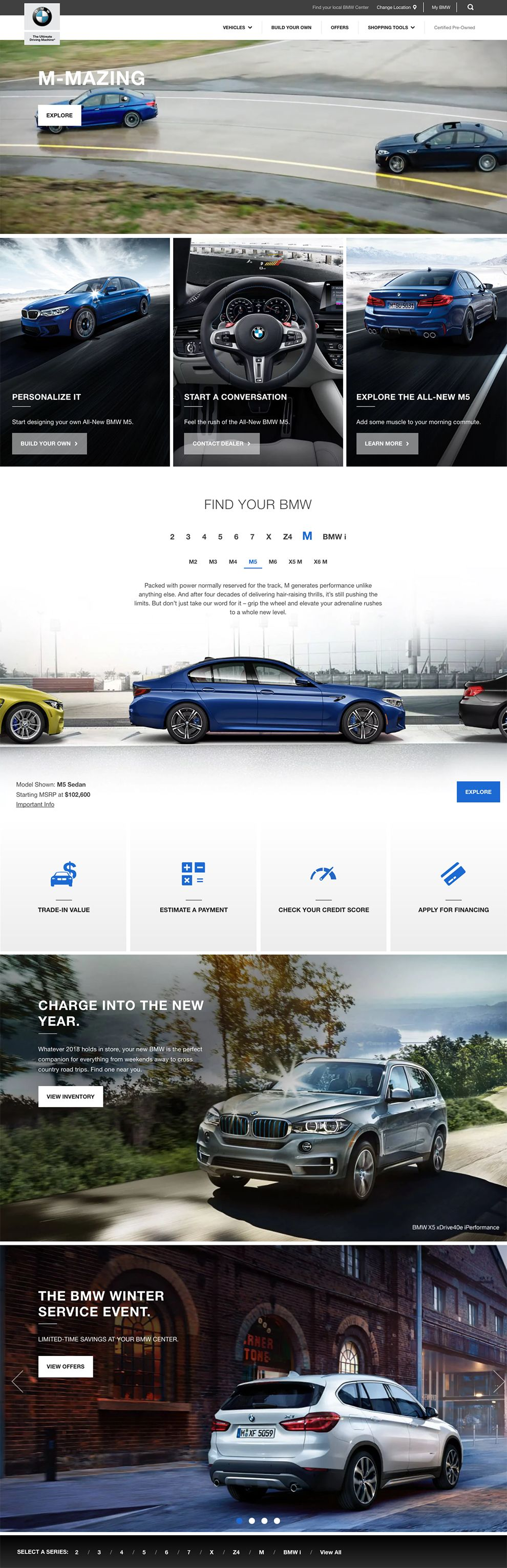 BMW USA Sleek Homepage Design