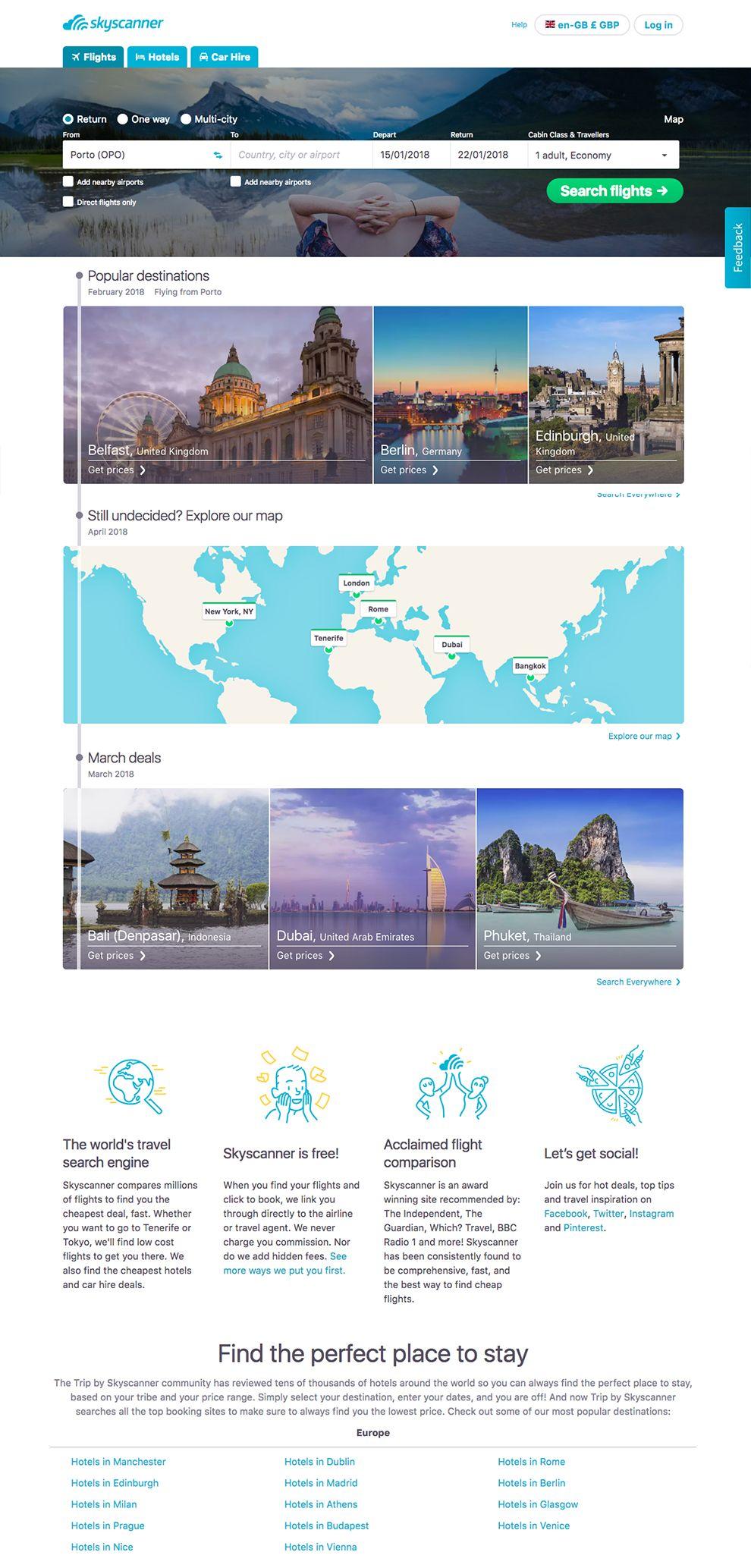 SkyScanner Clean Homepage