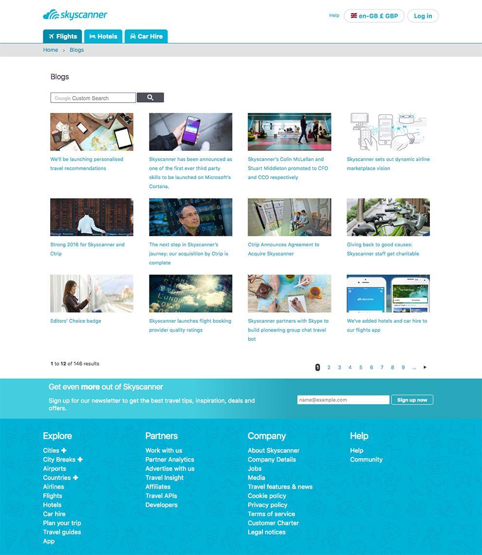 SkyScanner Clean Blog Site