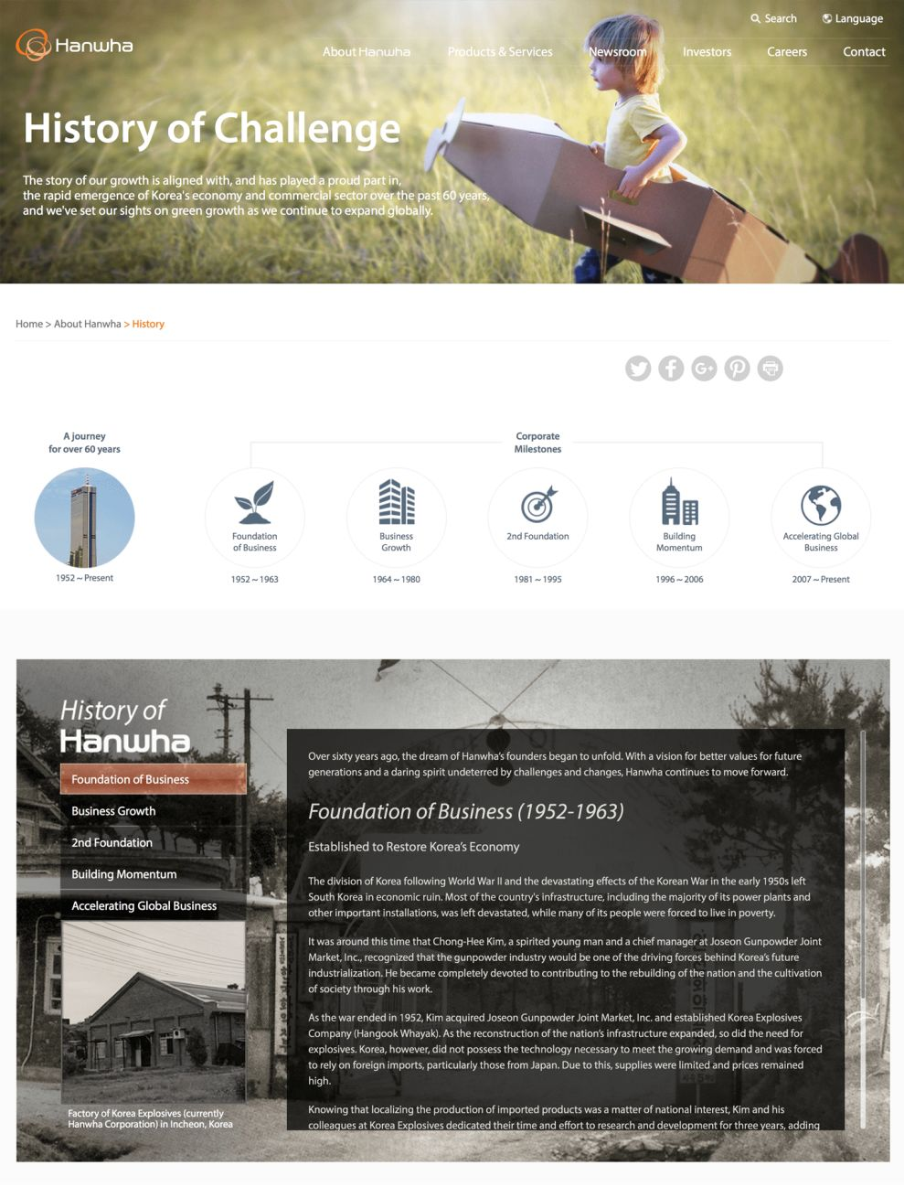 Hanwha Clean About Page Design