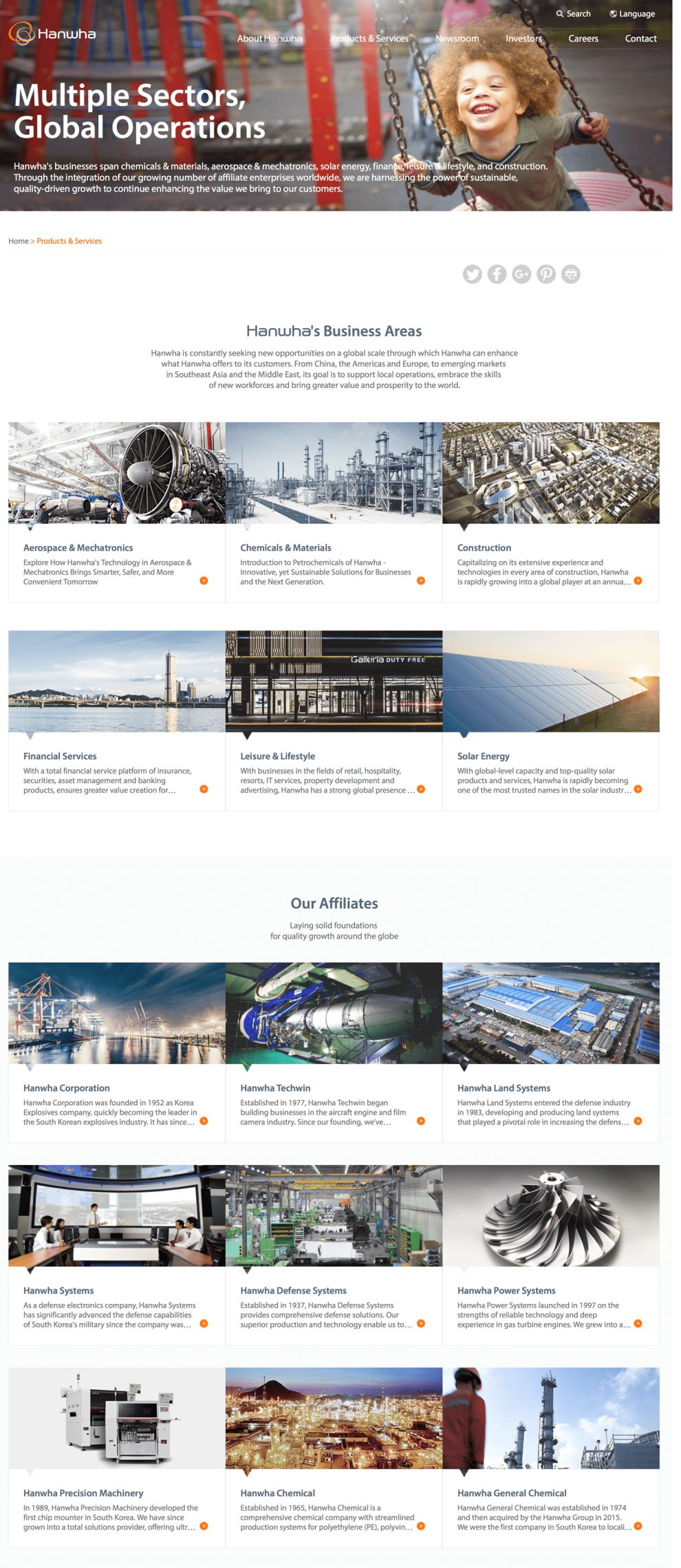 Hanwha Clean Product page Design