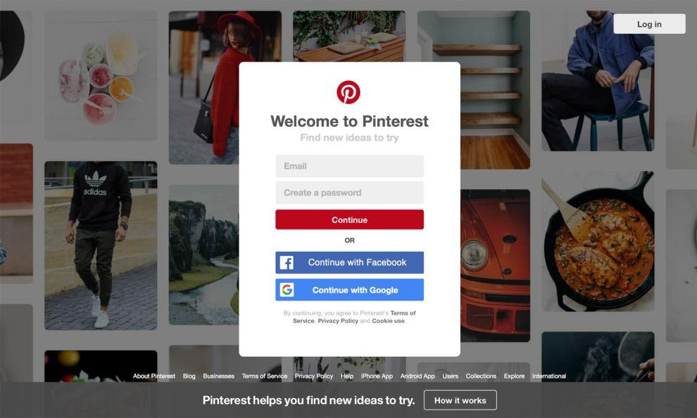 Pinterest Login Window