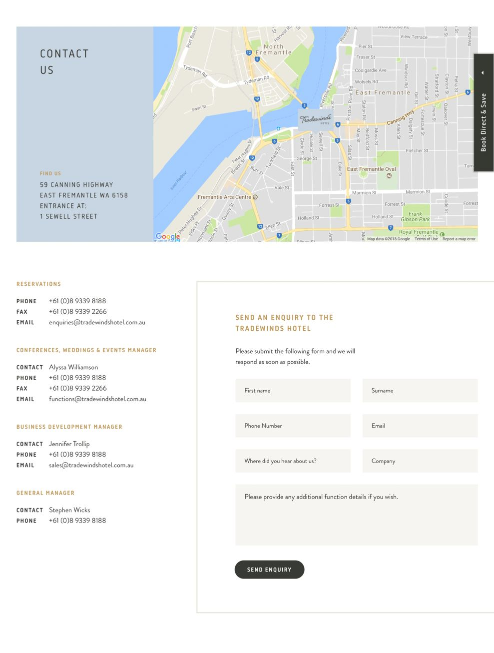 Tradewinds Hotel Clean Contact Page