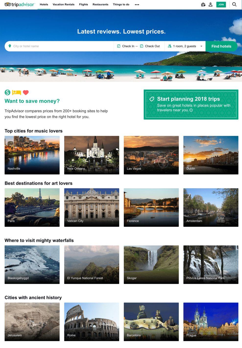TripAdvisor Clean Website Design Homepage