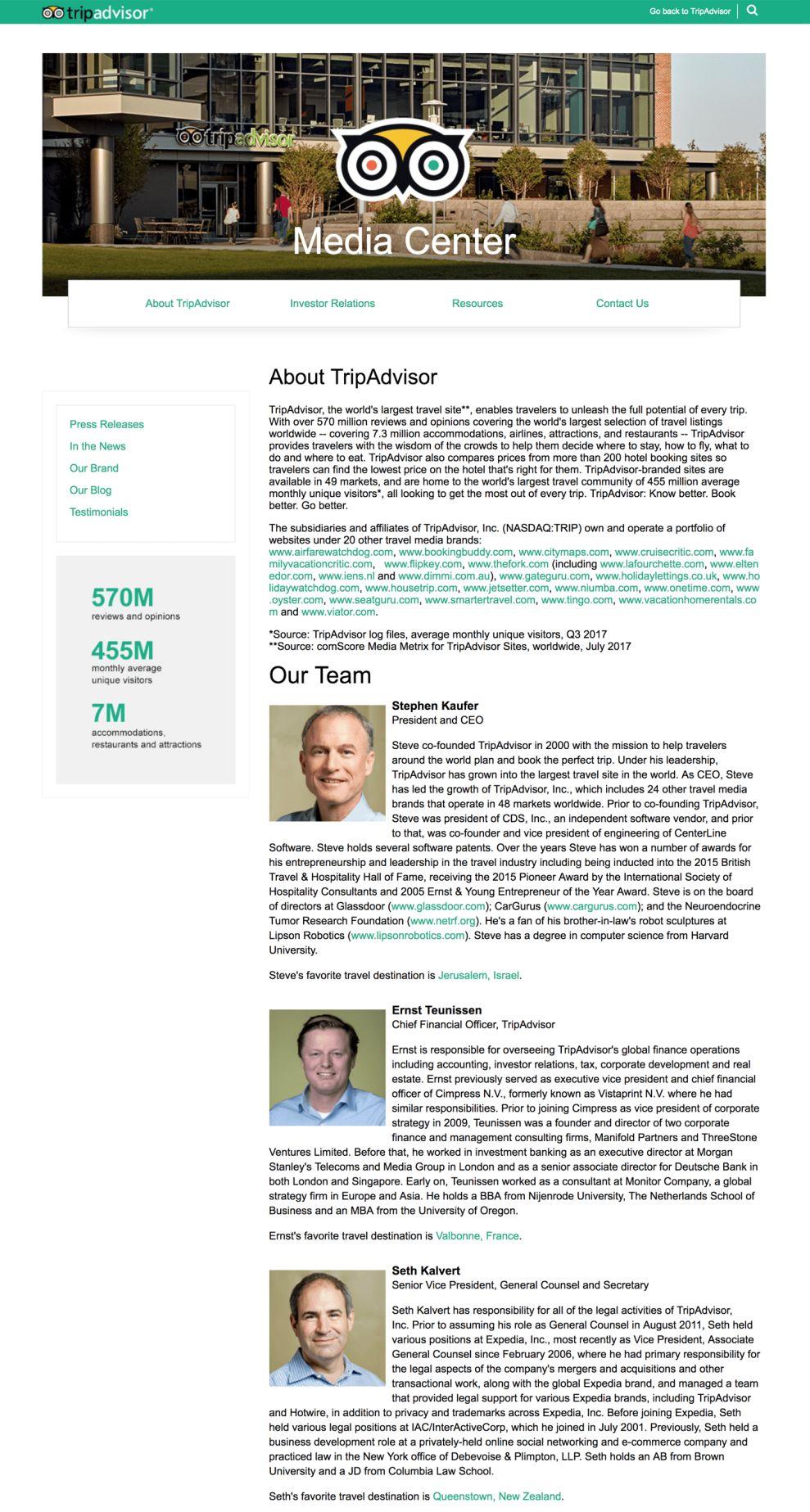 TripAdvisor Clean Website Design About Page
