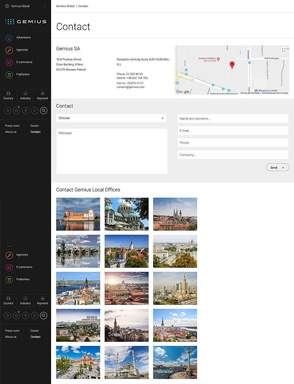 Gemius Top Website Design Contact Page