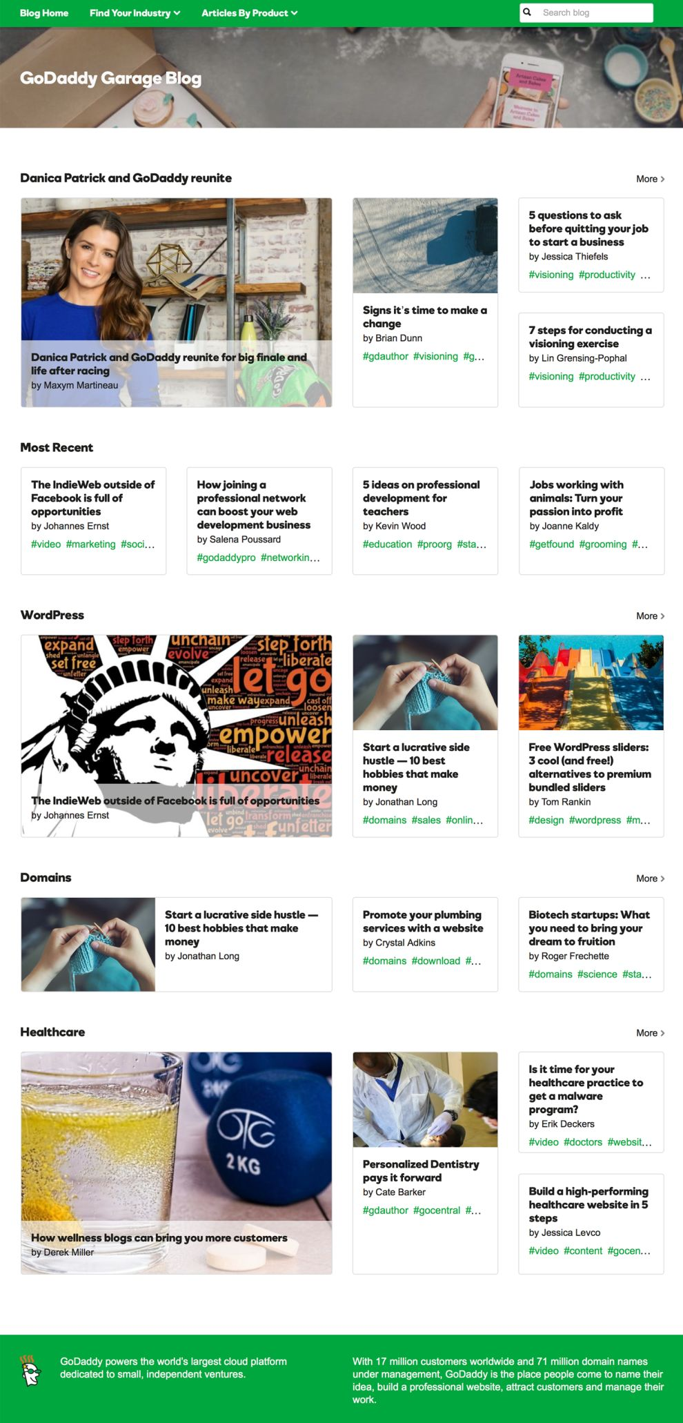 GoDaddy Clean Blog Page