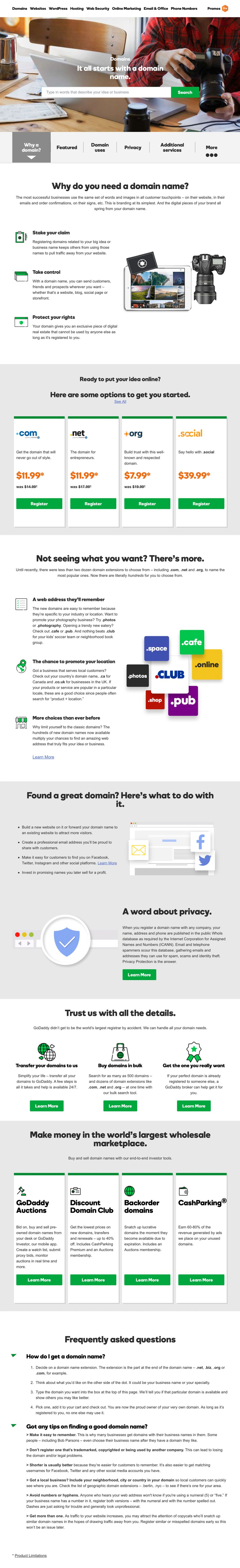 GoDaddy Clean About Page