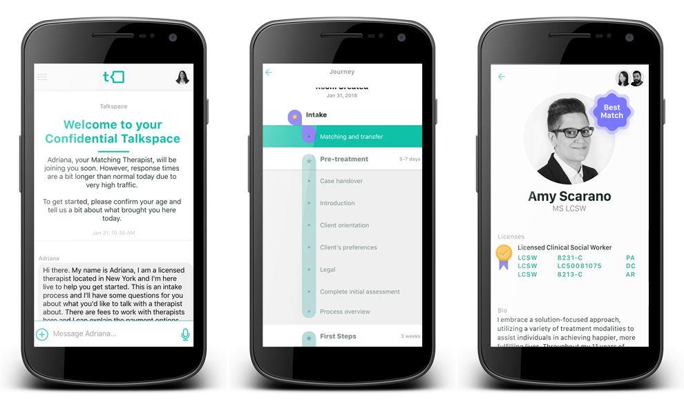 Talkspace App Design Interface