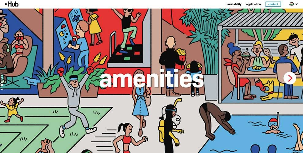 Hub Brooklyn Amenities Category Website Design