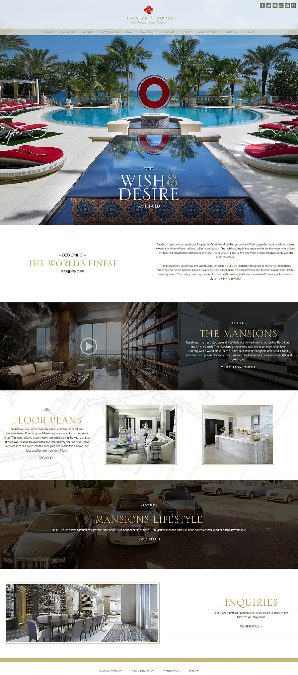 The Mansions at Acqualina Homepage Website