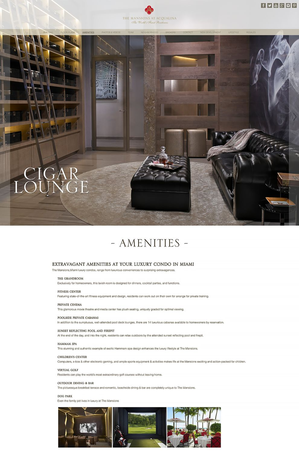 The Mansions at Acqualina Website Design About