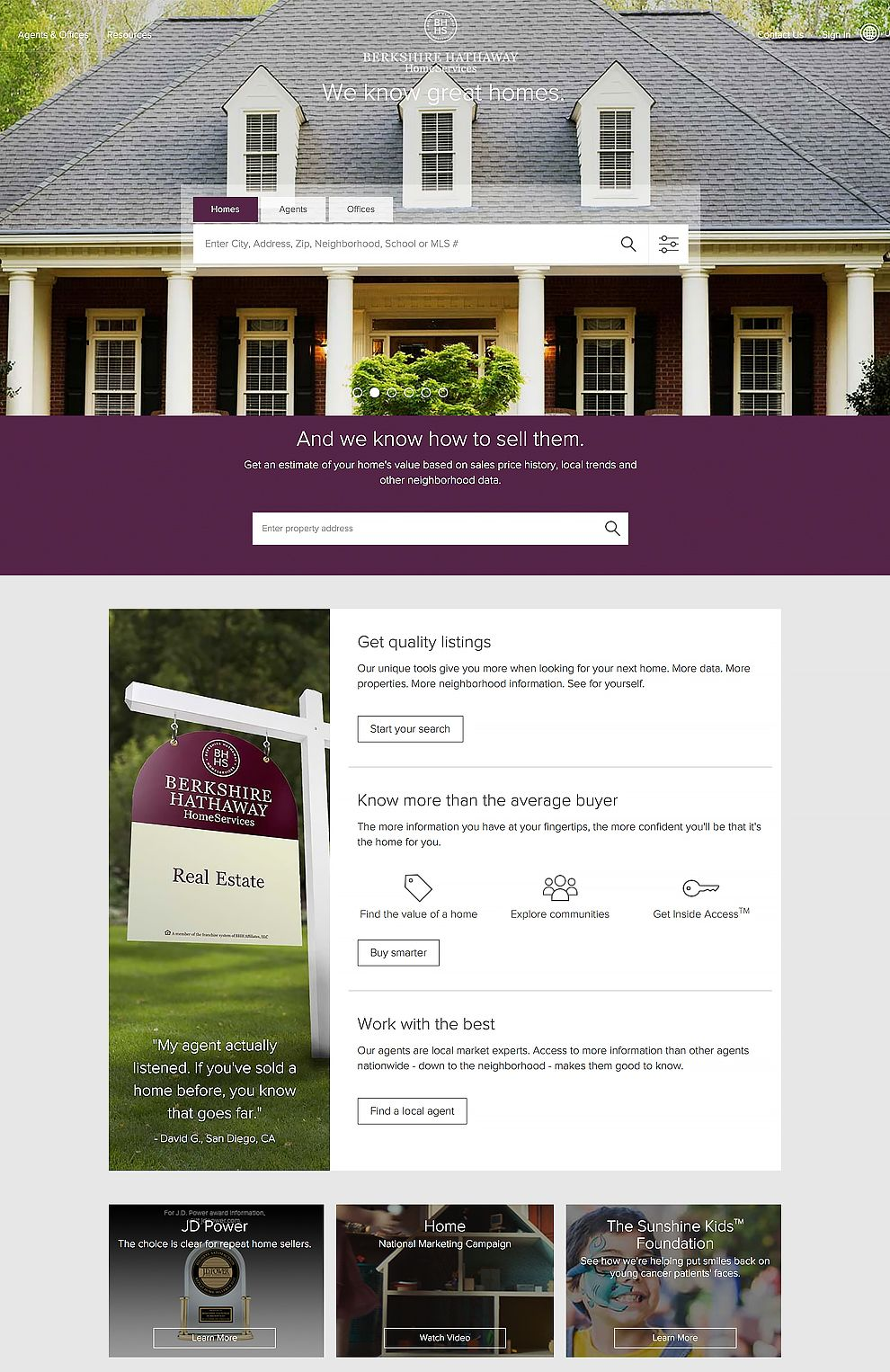 Berkshire Hathaway Home Services Professional Website Homepage