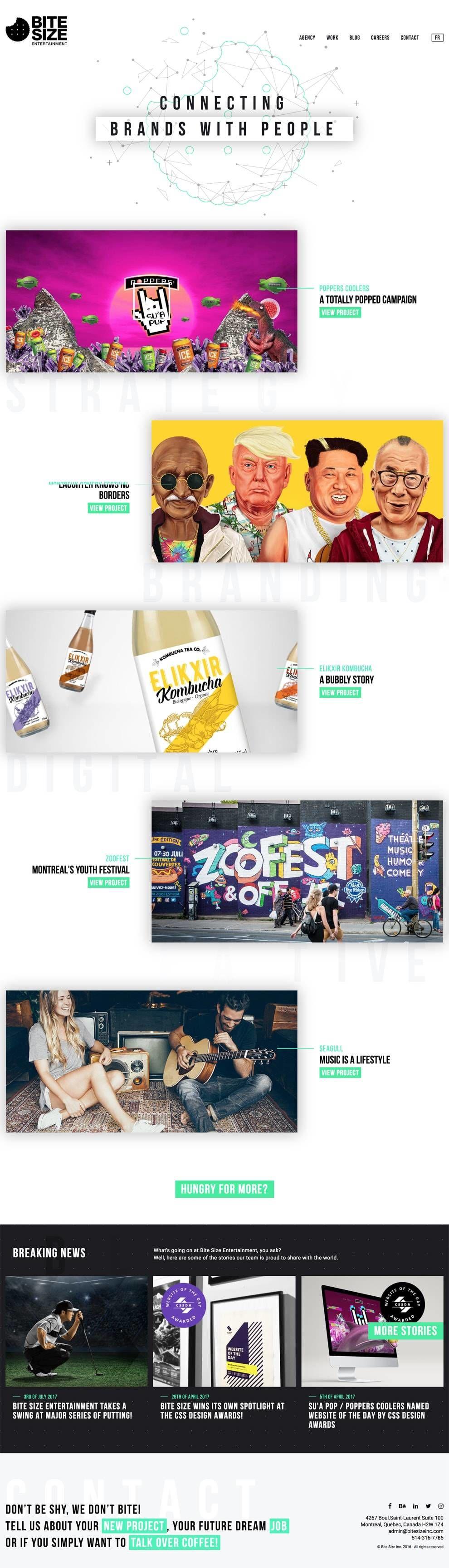 Bite Size Entertainment Great Website Design Homepage