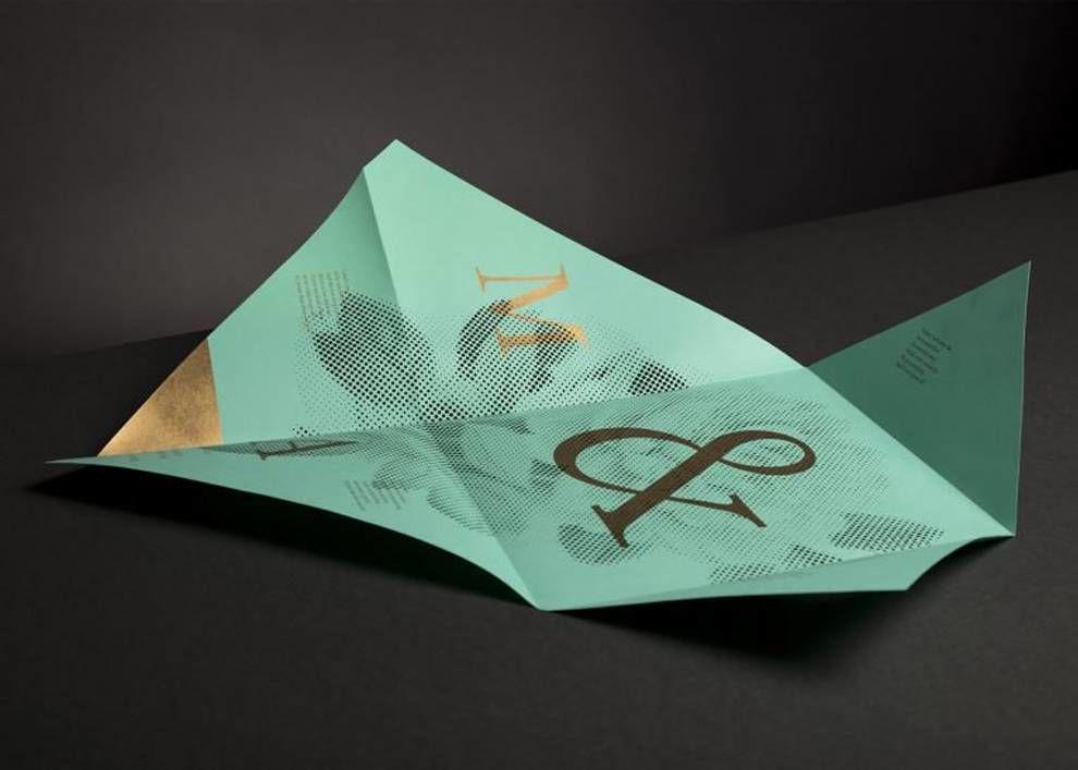 M&A Wedding Invitation Origami Print Design