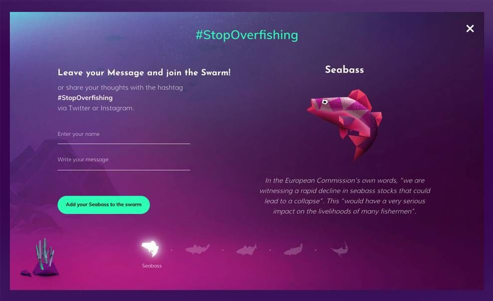 Oceana's Stop Overfishing Web Design Modal Window