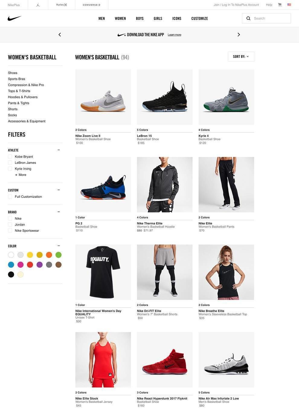 Nike Website Design Product Page