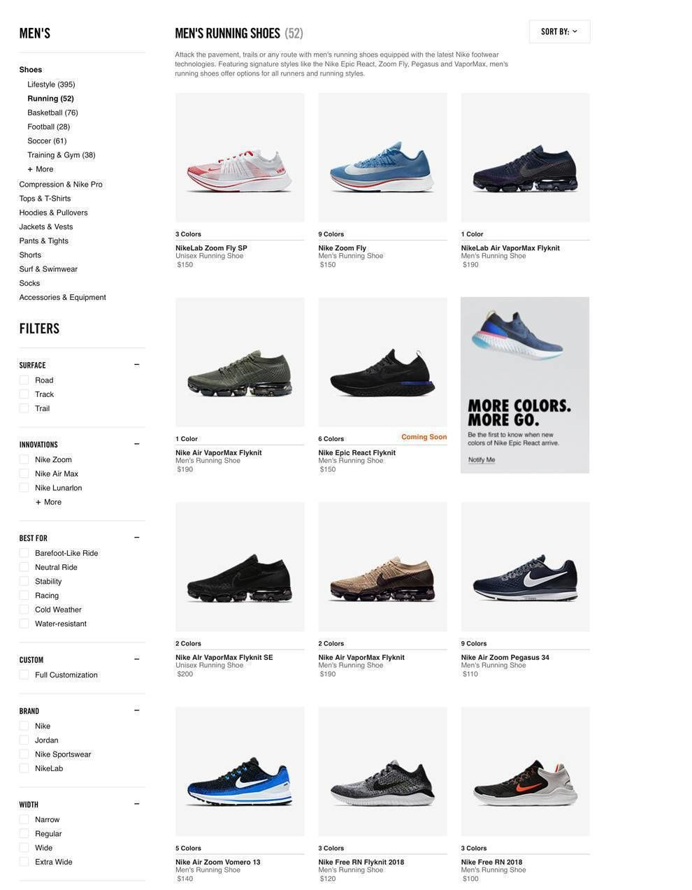 Nike Website Design Product Page Sidebar Filters