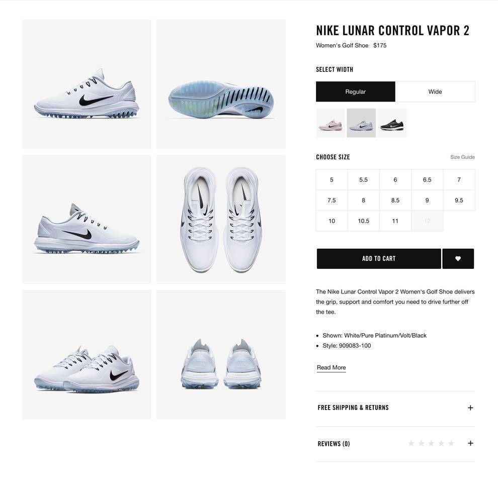 Nike Website Design E-Commerce Shoe Size Filters