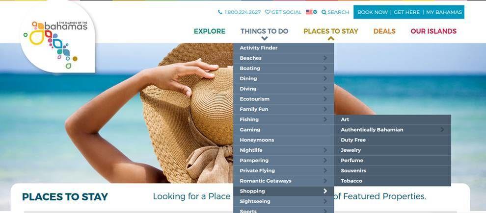 Bahamas Website Design Navigation Menu