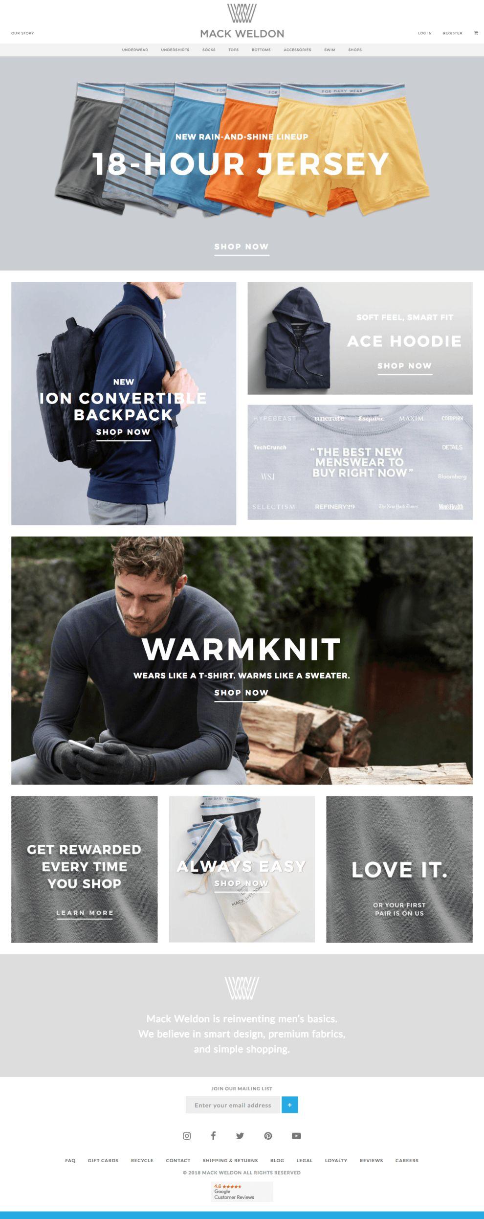 Mack Weldon Website Design Homepage