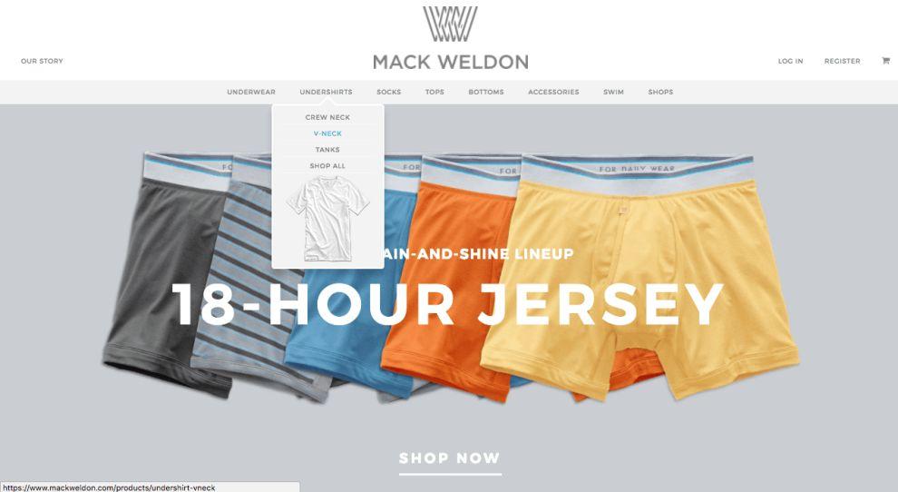 Mack Weldon Website Menu
