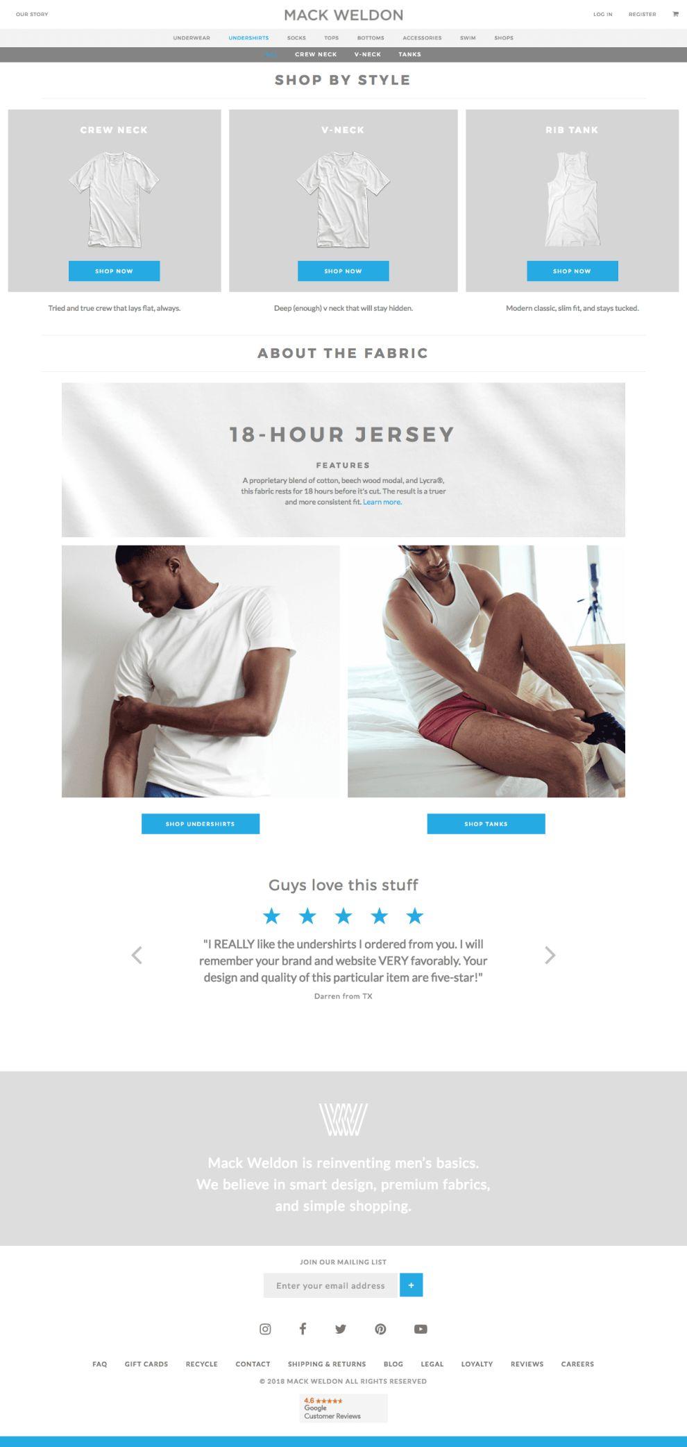 Mack Weldon Website Design Product Page